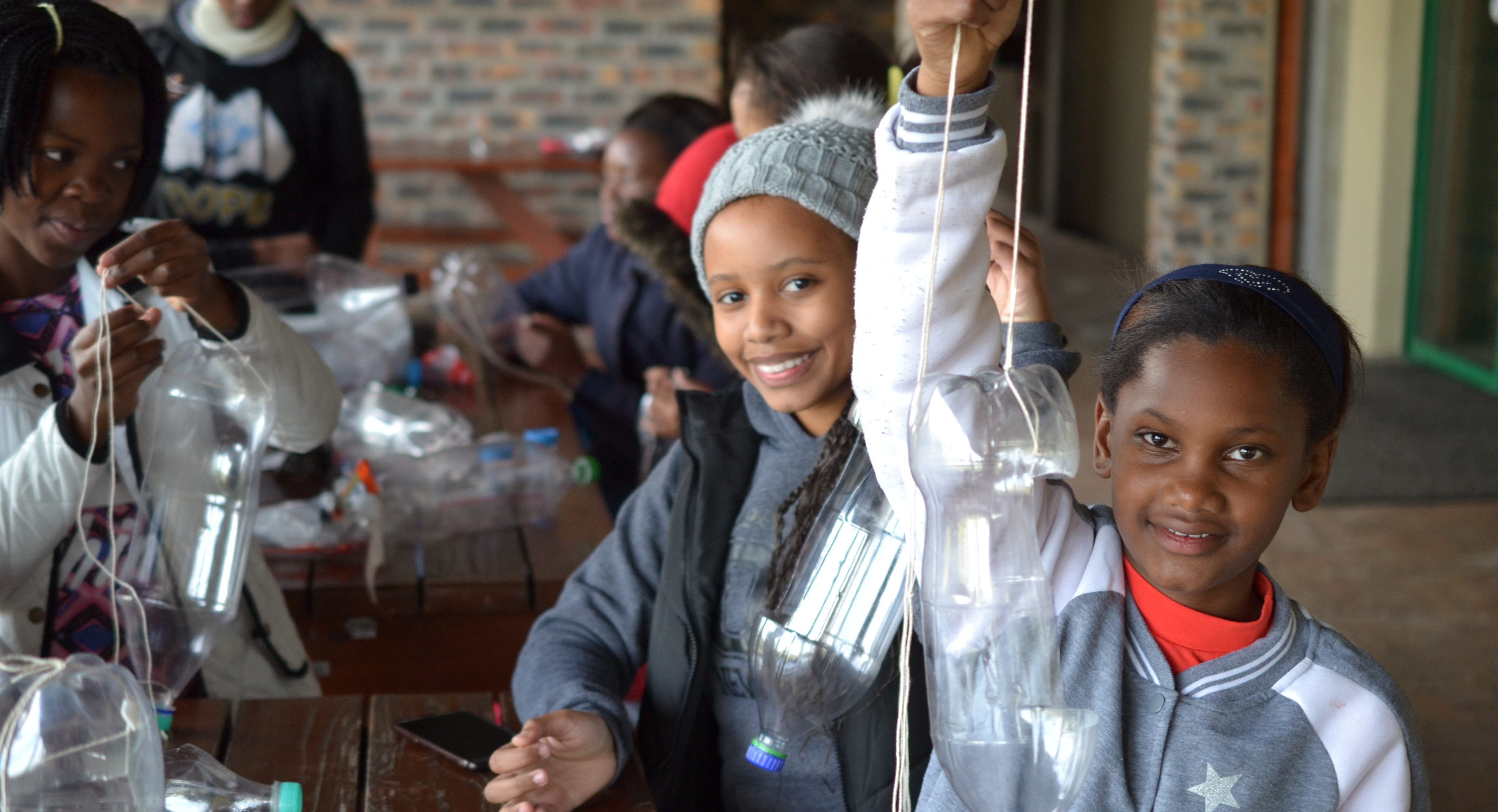 Learners constructing beetle traps
